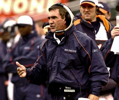 Broncos head coach Mike Shanahan on Sunday, November 30, 2003, in Oakland, California. The Broncos defeated the Raiders 22-8.  (AP Photo/Al Golub)