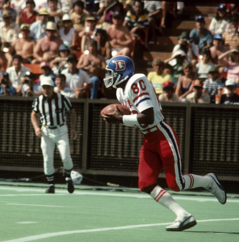Denver Broncos wide receiver Rick Upchurch (80) returns a kick during the NFL Pro Bowl, a 37-27 NFC victory on January 27, 1980, at Aloha Stadium in Honolulu, Hawaii.  (AP Photo/NFL Photos)