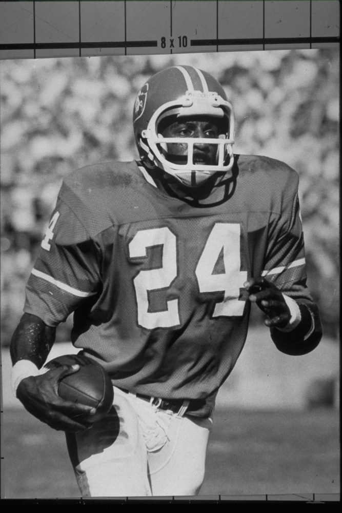 Running back Otis Armstrong runs the ball upfield during an October 20, 1974 win (27-7) over the San Diego Chargers at Mile High Stadium.