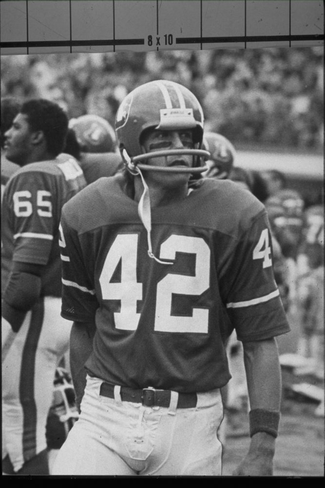 Wide receiver Billy Van Heusen watches from the sideline during an October 13, 1974 win (33-17) over the New Orleans Saints at Mile High Stadium.