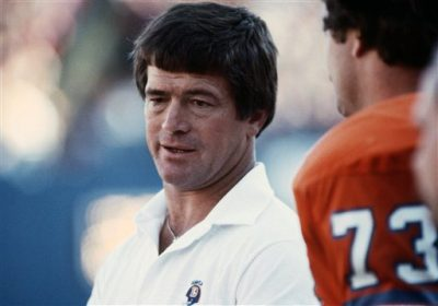 Coach Dan Reeves of the Denver Broncos watches play in October 1981 in Denver, Colorado.