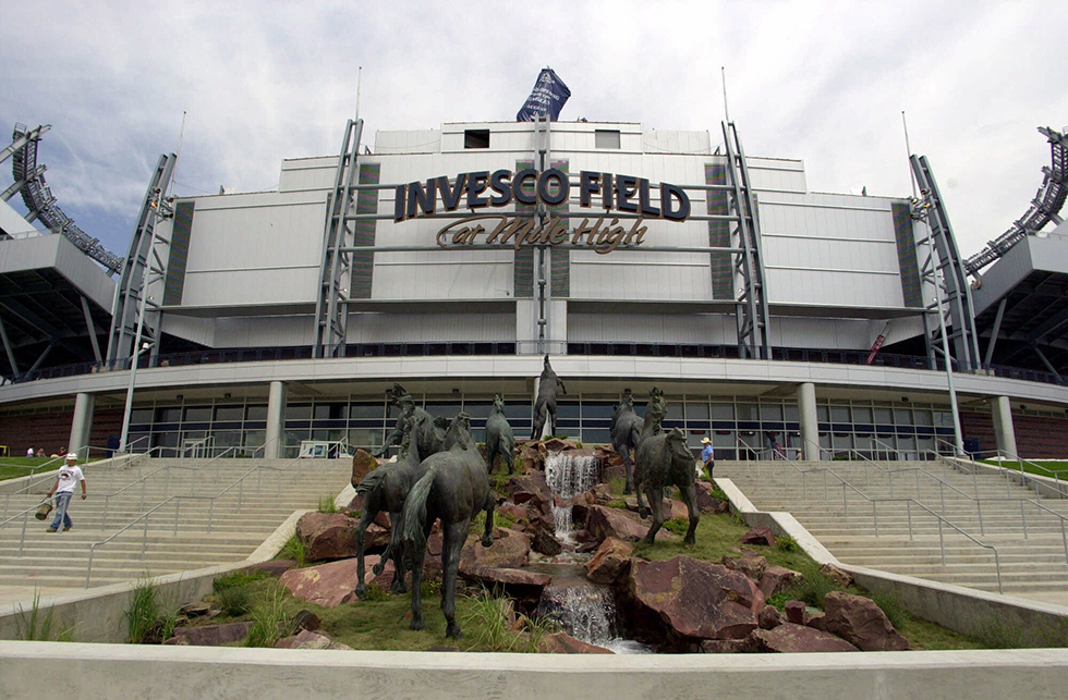 Statues of horses and a fountain decorate the south entrance to Invesco Field at Mile High in Denver where preparations were being completed on Friday, Aug. 10, 2001, for Saturday's opening event. The Eagles concert scheduled for Saturday night will christen the new stadium that will be the home field for the Denver Broncos.