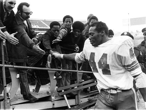 Denver Broncos running bak Floyd Little after a 33-27 loss to the Oakland Raiders
