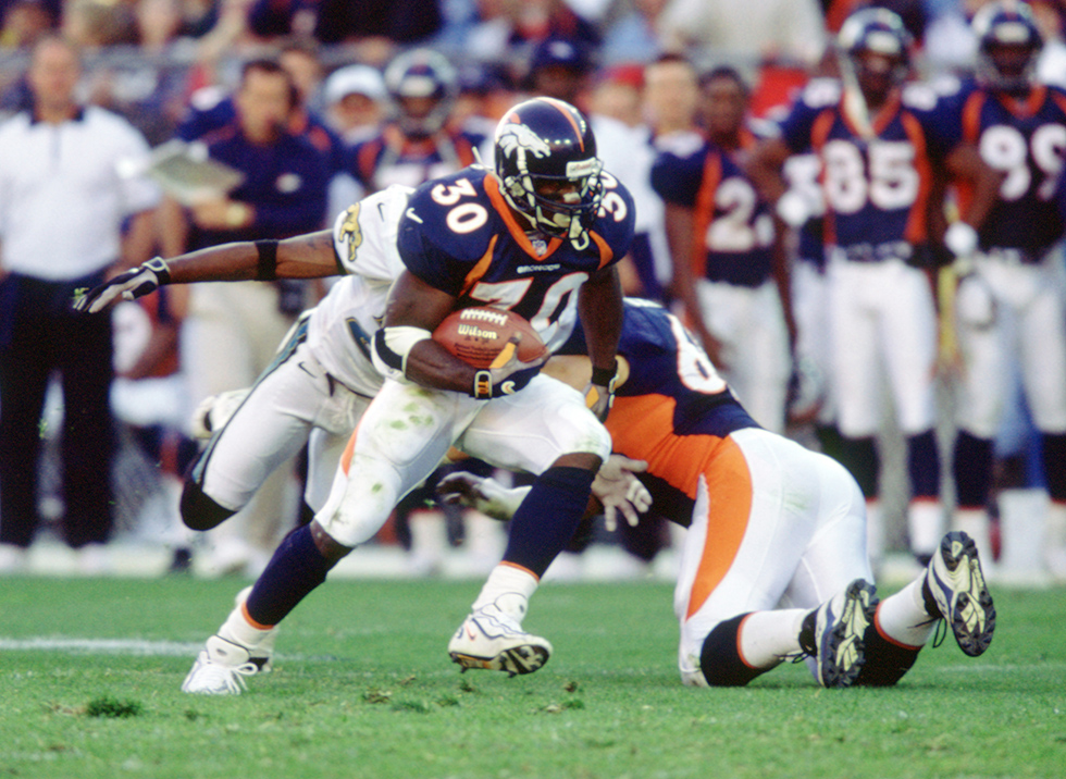 Denver Broncos Terrell Davis (30) during a game his 1998 season with the the Denver Broncos.