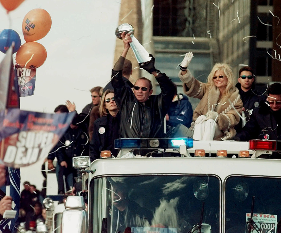 Denver Broncos owner Pat Bowlen holds the Vince Lombardi Super Bowl trophy