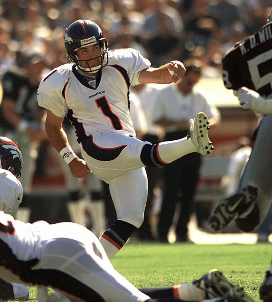 Denver Broncos' Jason Elam kicks a field goal against the Oakland Raiders