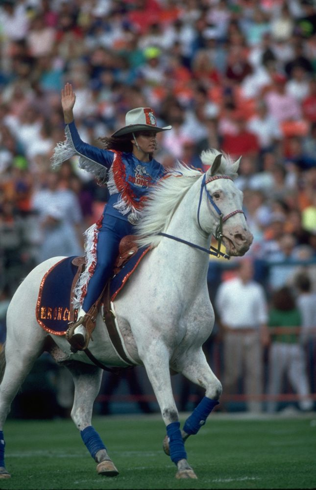 Thunder rides around the field during an August 1990 game.