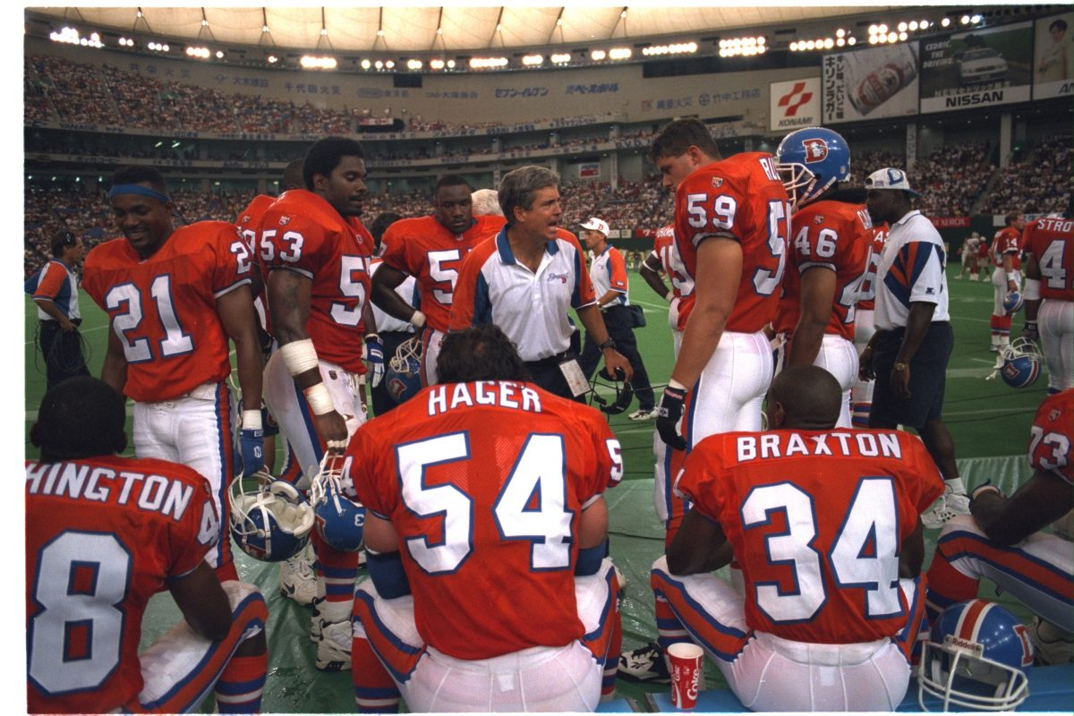 Defensive coordinator Greg Robinson talks to the defense during the 1995 American Bowl in Tokyo.