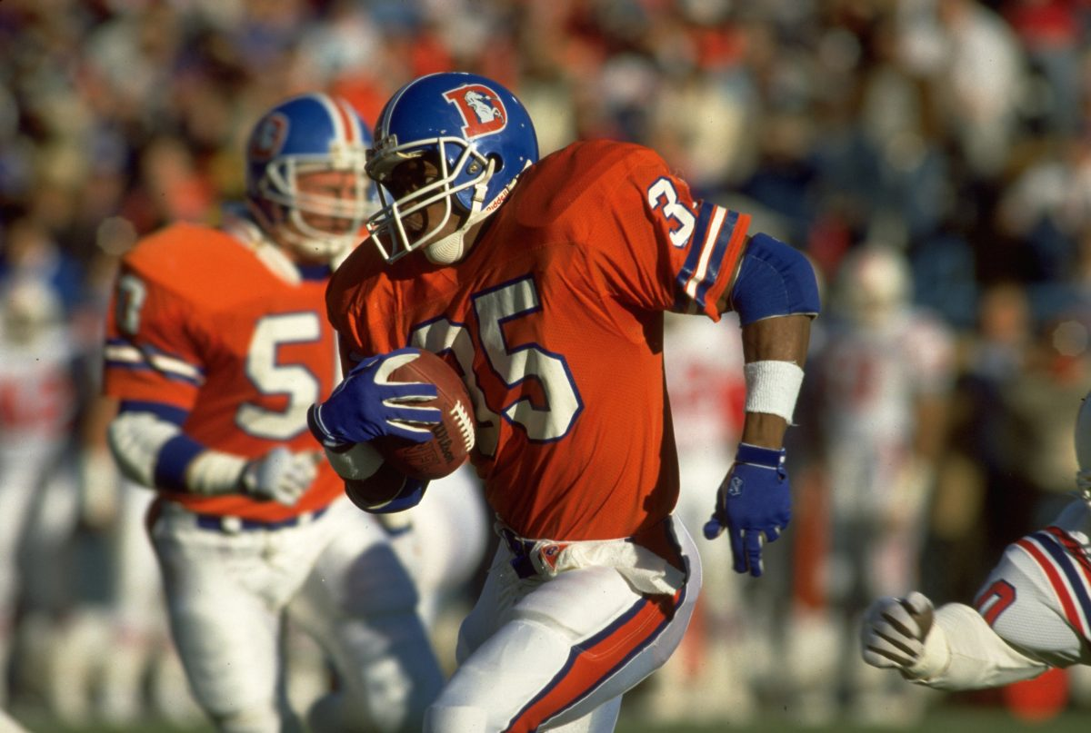 Running back Ken Bell carries the ball during a December 17, 1988 win (21-10) against the New England Patriots.