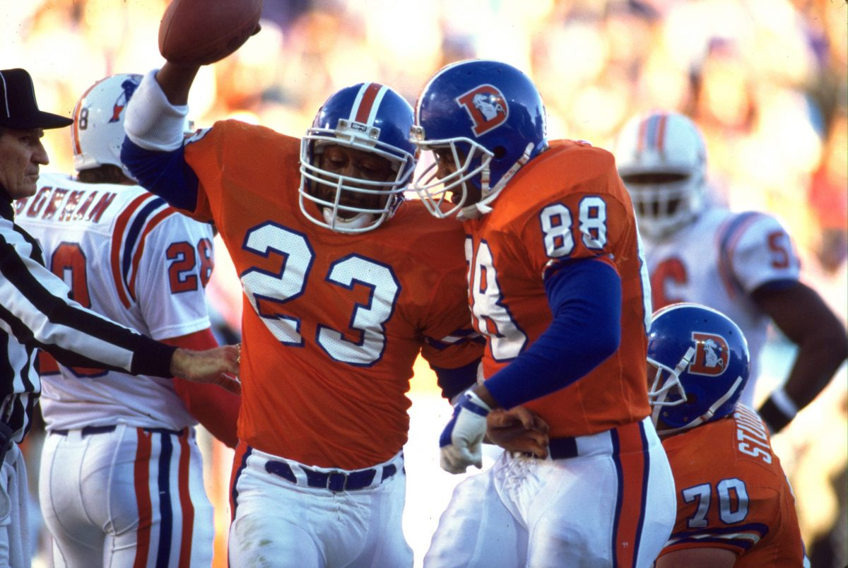 Running back Sammy Winder celebrates a touchdown during a December 17, 1988 win (21-10) over the New England Patriots at Mile High Stadium.
