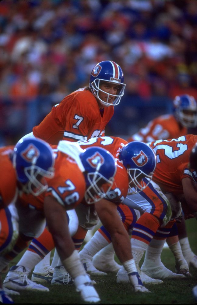John Elway at the line of scrimmage against the LA Raiders September 6 1992.