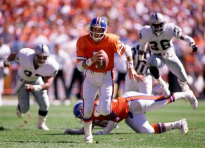 Denver Broncos John Elway(7) during a game from his 1989 season