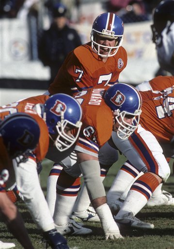 Denver Broncos quarterback John Elway (7) calls the snap count during the NFL football game AFC Wild Card game between the Pittsburgh Steelers and the Denver Broncos on December 30, 1984