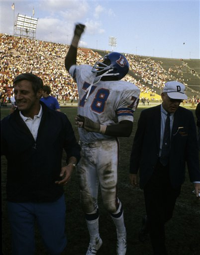 Denver Broncos tackle Marv Montgomery (78) celebrates a 16-10 victory over the Los Angeles Rams