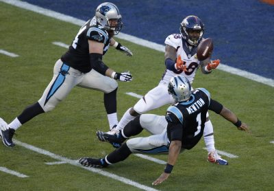 Von Miller strips the ball from Carolina Panthers' Cam Newton