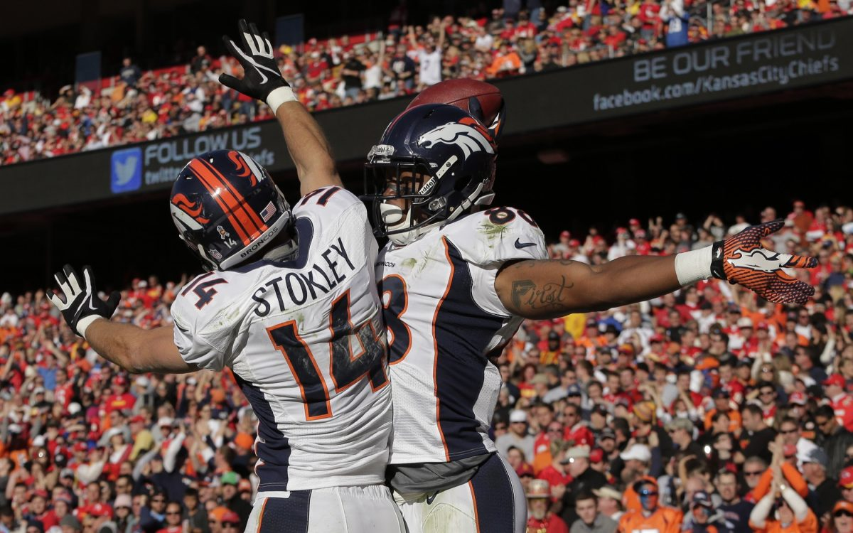 Demaryius Thomas celebrates with Brandon Stokley